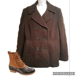 Chadwick's Moss Green Double Breasted Pea Coat